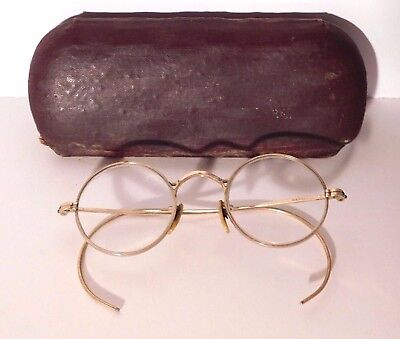 "Antique/ Vtg. 1/10 12K Gold Filled Round Wire Frame Eyeglasses in Case ""Junior"""