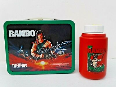 Super Clean EX Vintage 1985 Rambo Metal Lunchbox W Thermos Stallone First Blood
