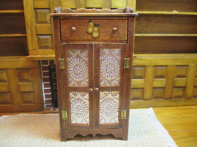 Dollhouse Miniatures ~ Handmade Wooden Pie Safe w/ Punched Tin By Beth Bergman