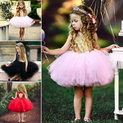 Princess Clothing Fashion Baby Pageant Wedding Party 2018 Sequins Tutu Dress