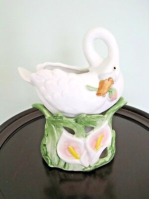 Fitz and Floyd White Swan Candle Votive Holder Figurine F&F
