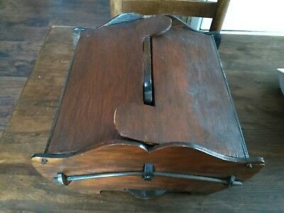 Antique PRIMITIVE Wooden Wood CANDLE BOX Handle Two Lids/Sides Sewing Folk Art