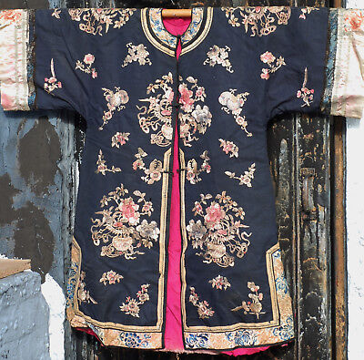 Very Fine Antique Chinese Silk Embroidered Robe with Peking Knot Qing