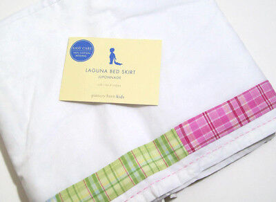Pottery Barn Kids Toddler Laguna Plaid Baby Crib Bed Skirt Dust Ruffle New