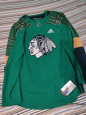 ADIDAS LIMITED Chicago Blackhawks NHL St. Patrick s Day Authentic Jersey 52   130 c723ec7e5