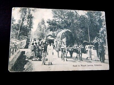 "1906.Road to Mount Lavinia, Colombo with India Postage...L@@@K""."