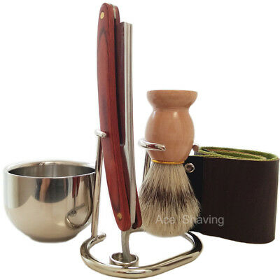 Barber Straight Razor Blade Set Stand Soap Bowl Strop Brush Personal shaving set