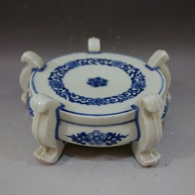 Antique Chinese Blue White Porcelain Stand - Kangxi Period