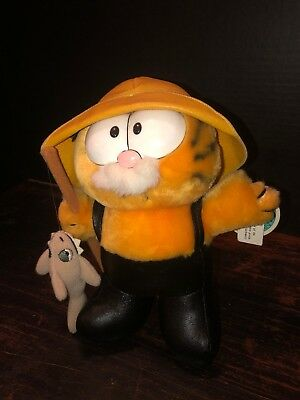 Garfield Vintage Plush Fishermen, Pole And  Fish Attached - By Dakin