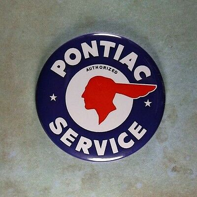 "Vintage Style Advertising  Sign Fridge Magnet 2 1/4""  Pontiac Service Indian"