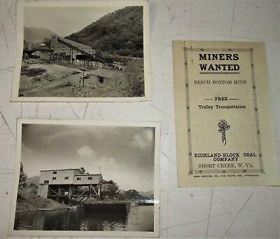 """Vintage B &w Coal Mine Photos & """"Miners Wanted"""" Booklet"""