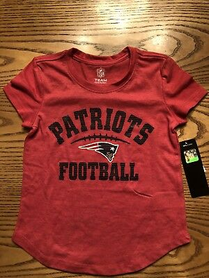 New England Patriots Nfl Team Apparel Girls Short Sleeve Shirt All Sizes