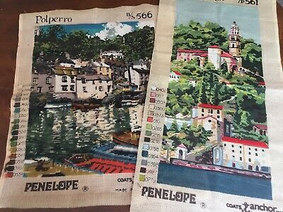 Two Large Part-worked Tapestry Needlepoint CANVAS - Coats Anchor - Penelope