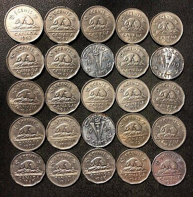 Old Canada Coin Lot - 1937-1951 - 25 Excellent Nickels - Lot #J19