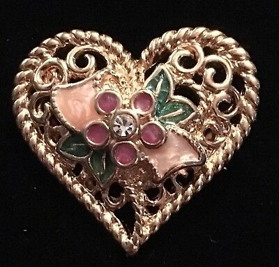 Vintage Beautiful Gold Tone Heart Shaped Brooch Pin I Love You Engraved Filigree