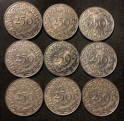 OLD Suriname Coin Lot - 250 Cents - 9 Very Scarce High Quality Coins - Lot #J19