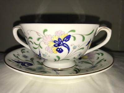 Coalport  Footed Cream Soup Bowl & Saucer Set Pageant