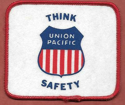 """Union Pacific Vintage ~ """"THINK SAFETY"""" ~ (3""""x 3 1/2"""") Fabric Patch (1980's)"""
