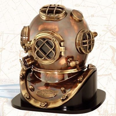 Nautical vintage solid copper & brass us navy mark v diving divers helmet