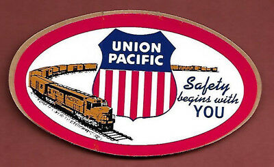 """Union Pacific ~ """"Safety begins with You"""" ~ One Oval Hard Hat Sticker..1970's"""