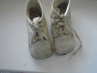 Vintage 1940's Leather Baby Lace-up Shoes