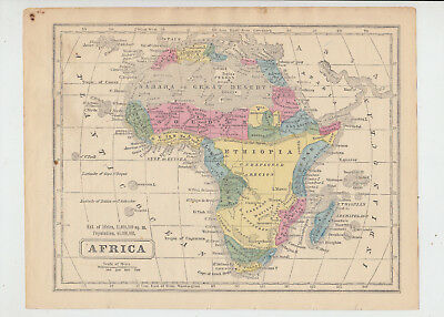 1853 Map of Africa, 8 x 10 Color Map Page from 1853 Geography Book