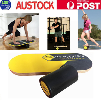 Wooden Balance Board Premium Trainer with Roller Surf Good Health Effectively AU