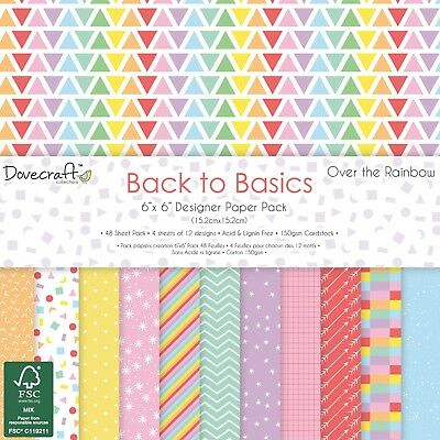 "12 Sheets Dovecraft Craft Paper -  ""OVER THE RAINBOW""  from Back to Basics"