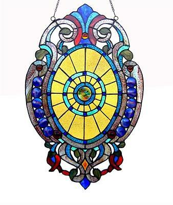 "Stained Glass Chloe Lighting Victorian Window Panel 15 X 23"" Handcrafted New"