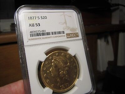 Liberty Head Double Eagle 1877-S  Au-53  Ngc  It Still Looks Nice   1 Oz Of Gold