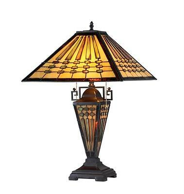 """Stained Glass Chloe Lighting Mission 3 Light Double Lit Table Lamp 16"""" Shade New"""