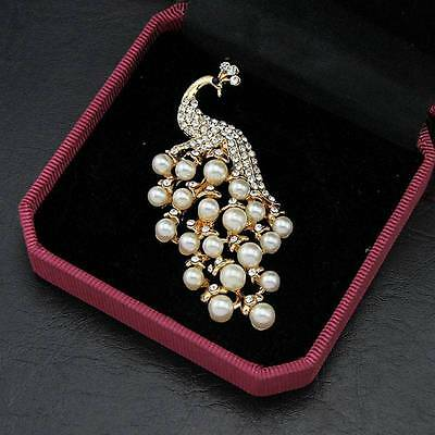 18k Plated White Peacock Brooch Imitation Pearl Brooch Pin Wedding Bridal