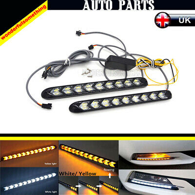 2x Car Flexible Switchback Flowing LED Strip Light DRL Turn Signal White+Yellow