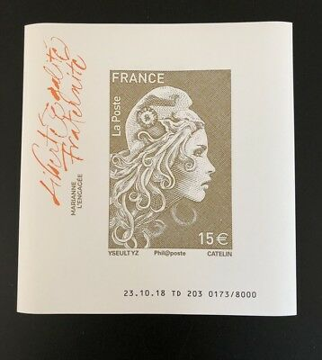 Feuillet Marianne L'engagee A 15€ Timbre France 2018 Neuf Luxe