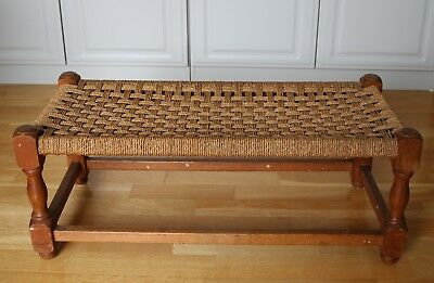 Vintage hand made Wooden Long Stool Footstool with Woven Rush Seat