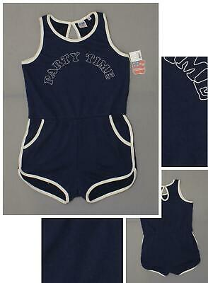1d367646867 NWT Junk Food Women s PARTY TIME French Terry Sleeveless Romper Navy Blue