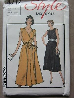 Retro Style Pattern 4712 Back or Front Wrap Dress Sizes: 10, 12, 14 NEW