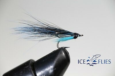 ICE FLIES. Micro Fly, Madalene Black and Blue, Treble Hook. (3-pack) No 16 or 18