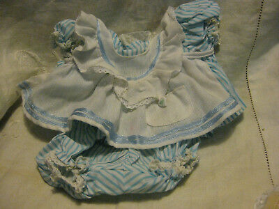 For My Child Doll - Blue Striped Pinny Outfit- Dress. Panties, Pinny