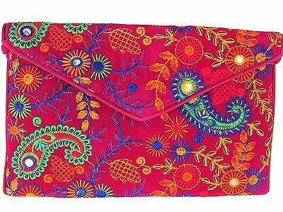 US SELLER  Paisley Pink Hand Embroidered Clutch Bag Tablet Case with Strap India