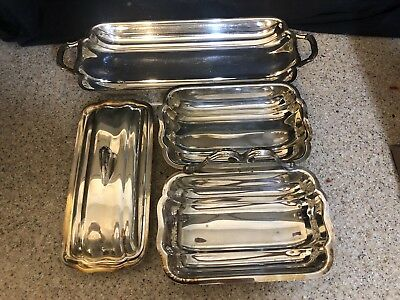 Stunning Silver Plate Set Of 3 Art Deco Butter Relish & Bread Dishes By Bristol