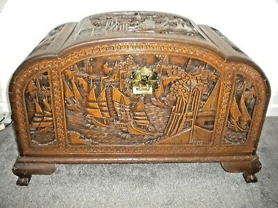 Antique Chinese Camphor Wood Chest For Blankets And Storage