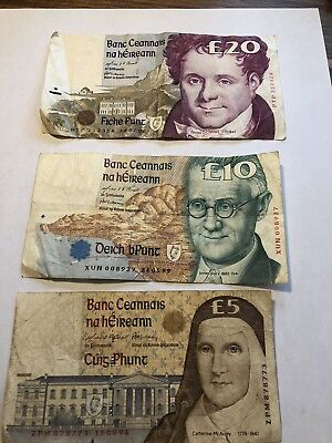 Ireland Series C LOT OF 3 BANKNOTES... 5, 10, 20 POUNDS
