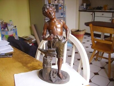 Antique spelter figure of metal worker/blacksmith dating from 1900 signed.