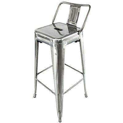 Brushed Steel Metal Tolix Bar Stool & Back French Retro Bistro Restaurant Cafe