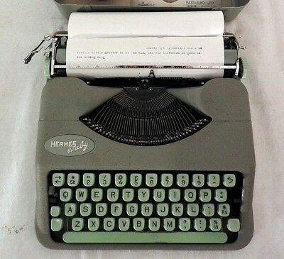 Vintage Swiss 1959 Hermes Baby Lime Green Typewriter in Case with Instructions