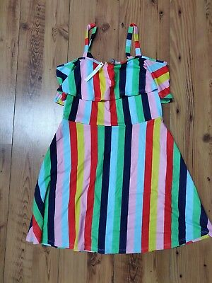 ASOS Rainbow Multi Coloured Day Dress - Size 12 - Beach Holiday Bright Casual