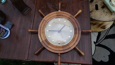 19 INCH , SHIPS WHEEL , VINTAGE RETRO   TEMPORA   WALL CLOCK    1970s ,  ENGLAND