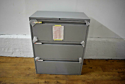 NEW KI 3 Drawer Metal Lateral Office Side Filer Grey Includes Key + Spare 800mm