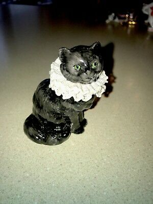 RARE 3RD SERIES THE FRANKLIN MINT LACE CAT CURIO CABINET FIGURINE Chipped Pics